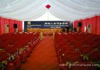 Hard Pressed Aluminum Frame Fabric Cover Commercial Party Tents With Beautiful Lining Decorations
