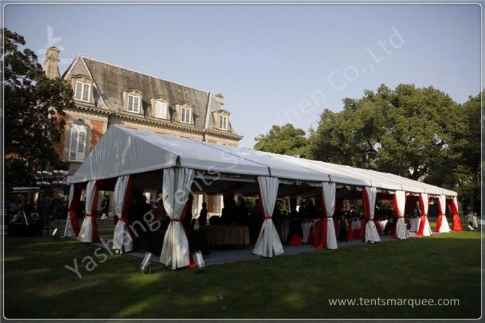 Out side 4M Width French Style High Peak Frame Tent Transparent PVC Windows